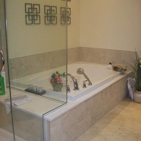 Glass Tub and Shower Combination